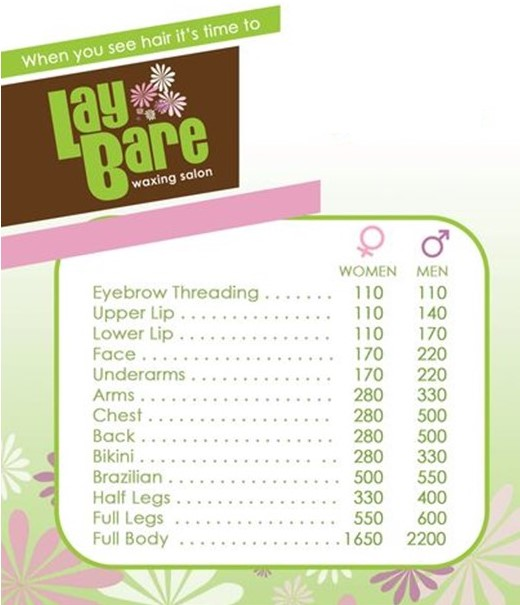 Laybare price list