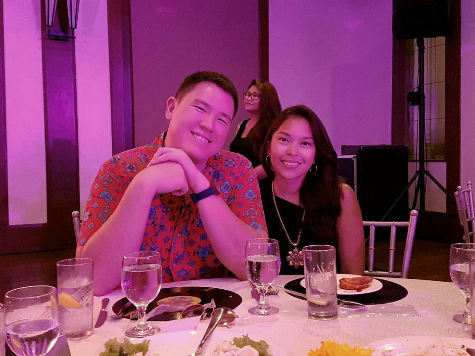With his beautiful seatmate, classmate and girlfriend
